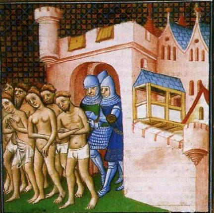De bewoners van Carcassonne verlaten de stad na de belegering door de kruisvaarders in 1209, de mannen slechts gekleed in onderbroek, de vrouwen in een hemd, met achterlating van al hun bezittingen.